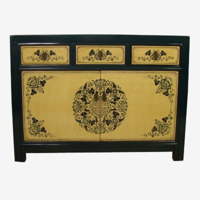 Oriental Chinese Painted Cabinet In Blue/Cream