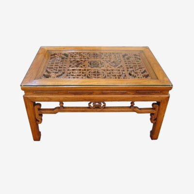 Oriental Chinese Coffee Table With Glass Top