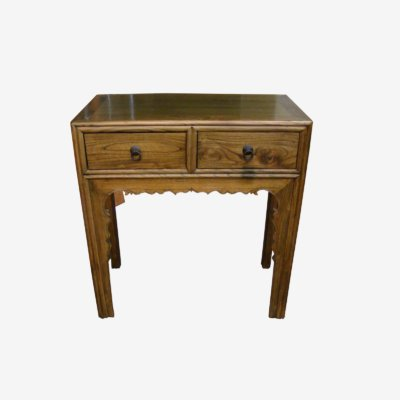 Oriental Small Wooden Table With Lacquered Finish